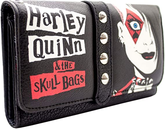 Cartera de Harley Quinn y The Skull Bags Tachonado Negro