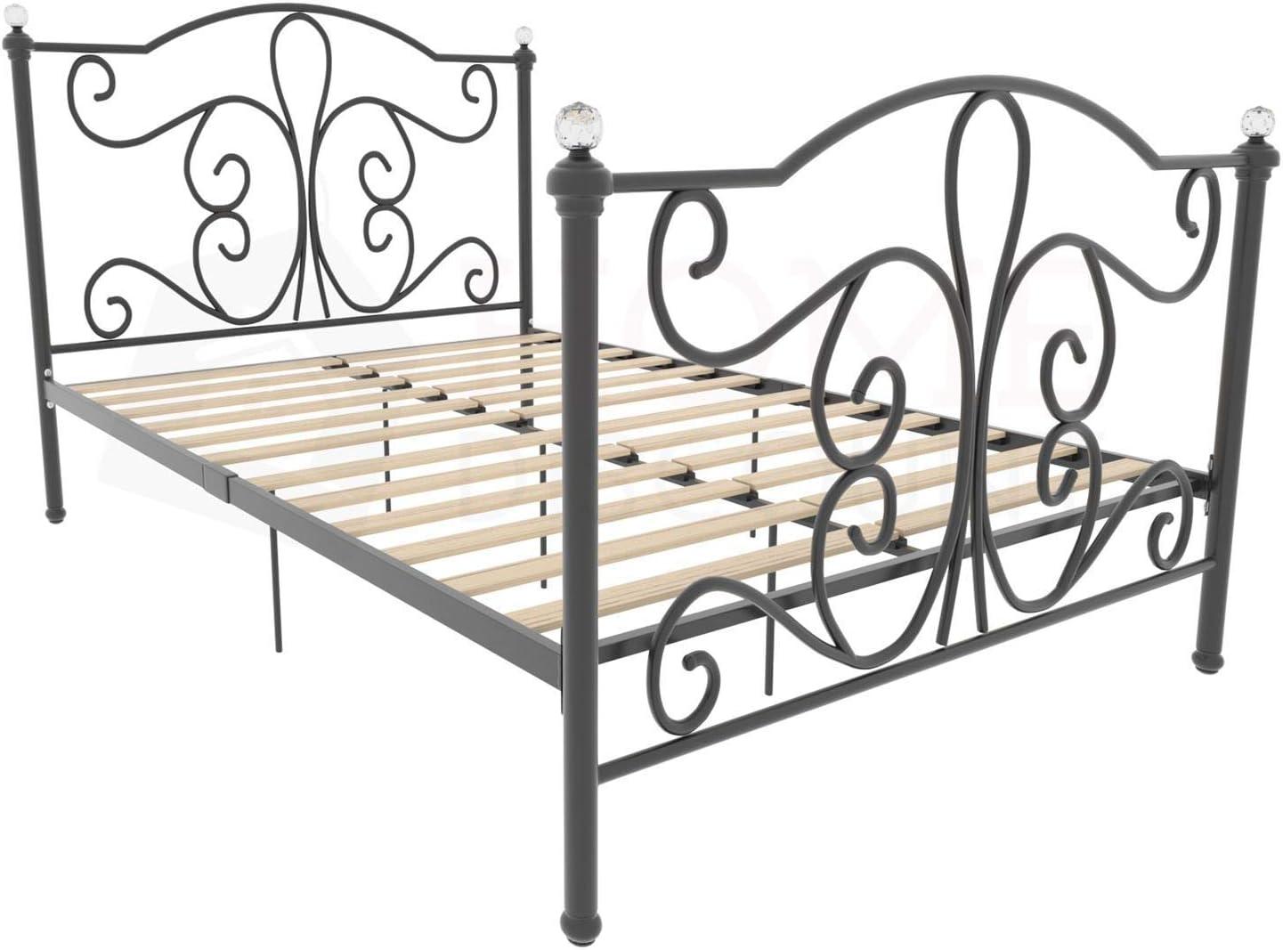 4ft Bed Frame Metal Headboard High Foot End Bedroom Furniture Vida Designs Chicago Small Double Bed Black