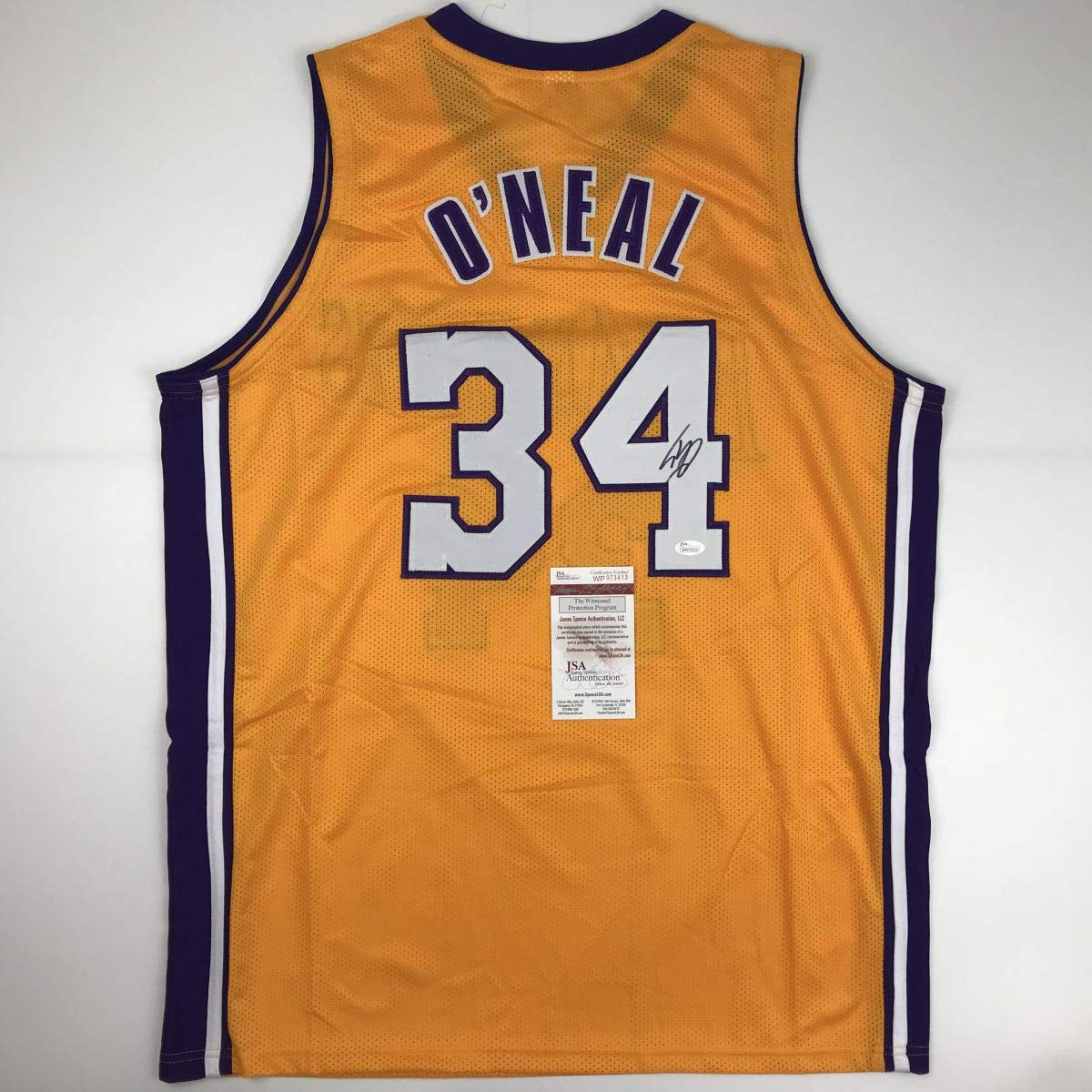 05326bbbb2a Autographed/Signed Shaquille Shaq O'Neal Los Angeles LA Yellow Basketball  Jersey JSA COA at Amazon's Sports Collectibles Store