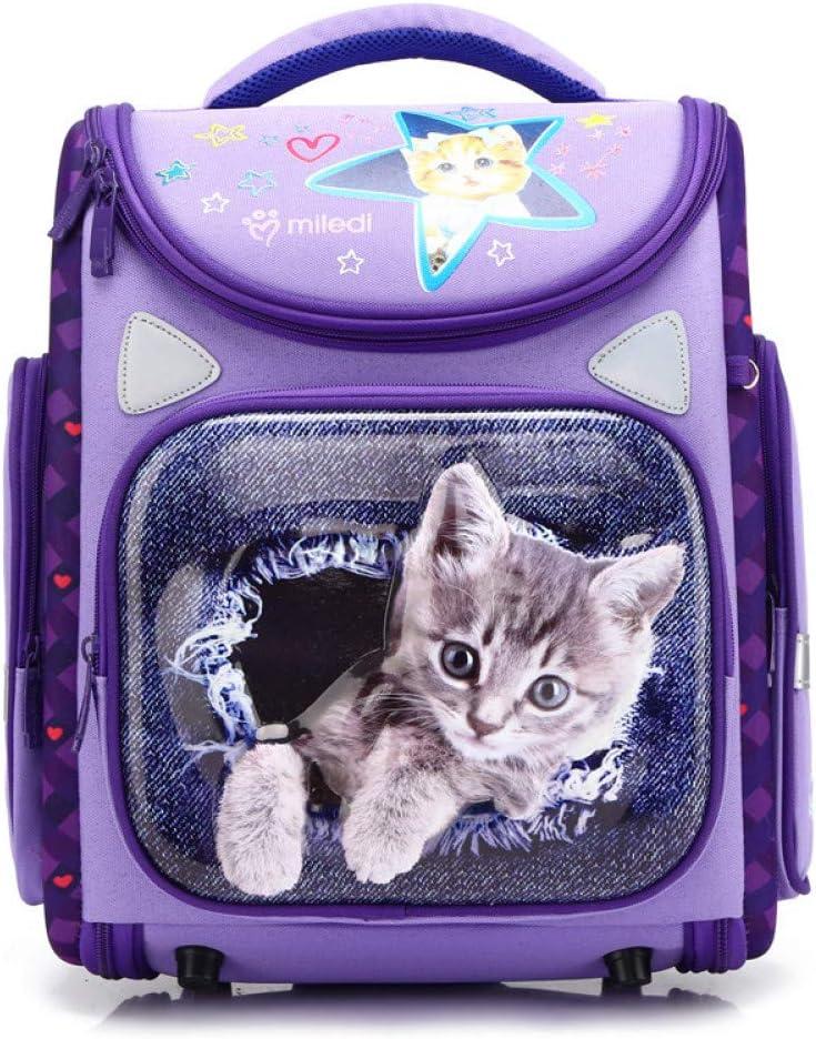 ZLJMM Niñas Mochilas Escolares De Primera Calidad para Niños Mochilas Escolares para Niños Camión Ortopédico Satchel Niños De Dibujos Animados Mochila Niñas,Purple Cat