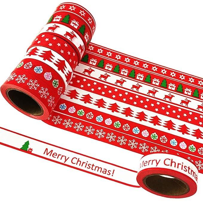 2 opinioni per EDGEAM 8Pcs Washi Tape Set Natale Motivi Christmas Decorativi Nastro Adesivo di