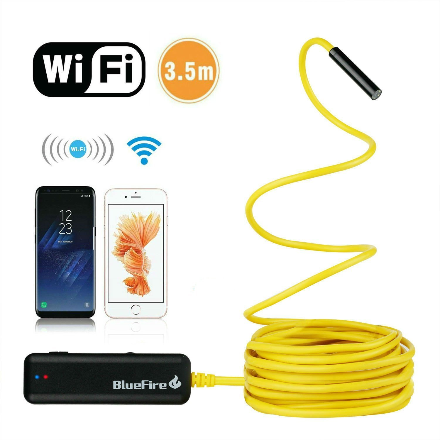 BlueFire Semi-rigid Flexible Wireless Endoscope IP67 Waterproof WiFi Borescope 2 MP HD Resolutions Inspection Camera Snake Camera for Android and iOS Smartphone, iPhone, Samsung, iPad, Tablet (11.5FT)
