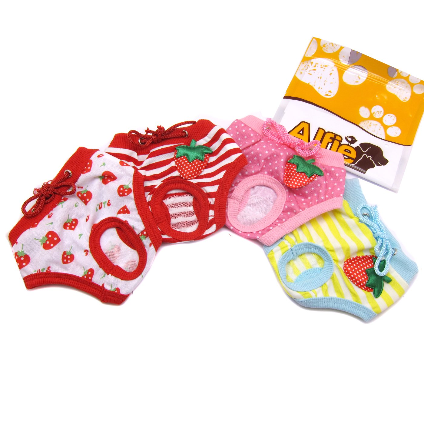 Alfie Pet by Petoga Couture - Torri Diaper Dog Sanitary Pantie 4-Piece Set - Size: S (for Small Girl Dog Breeds)