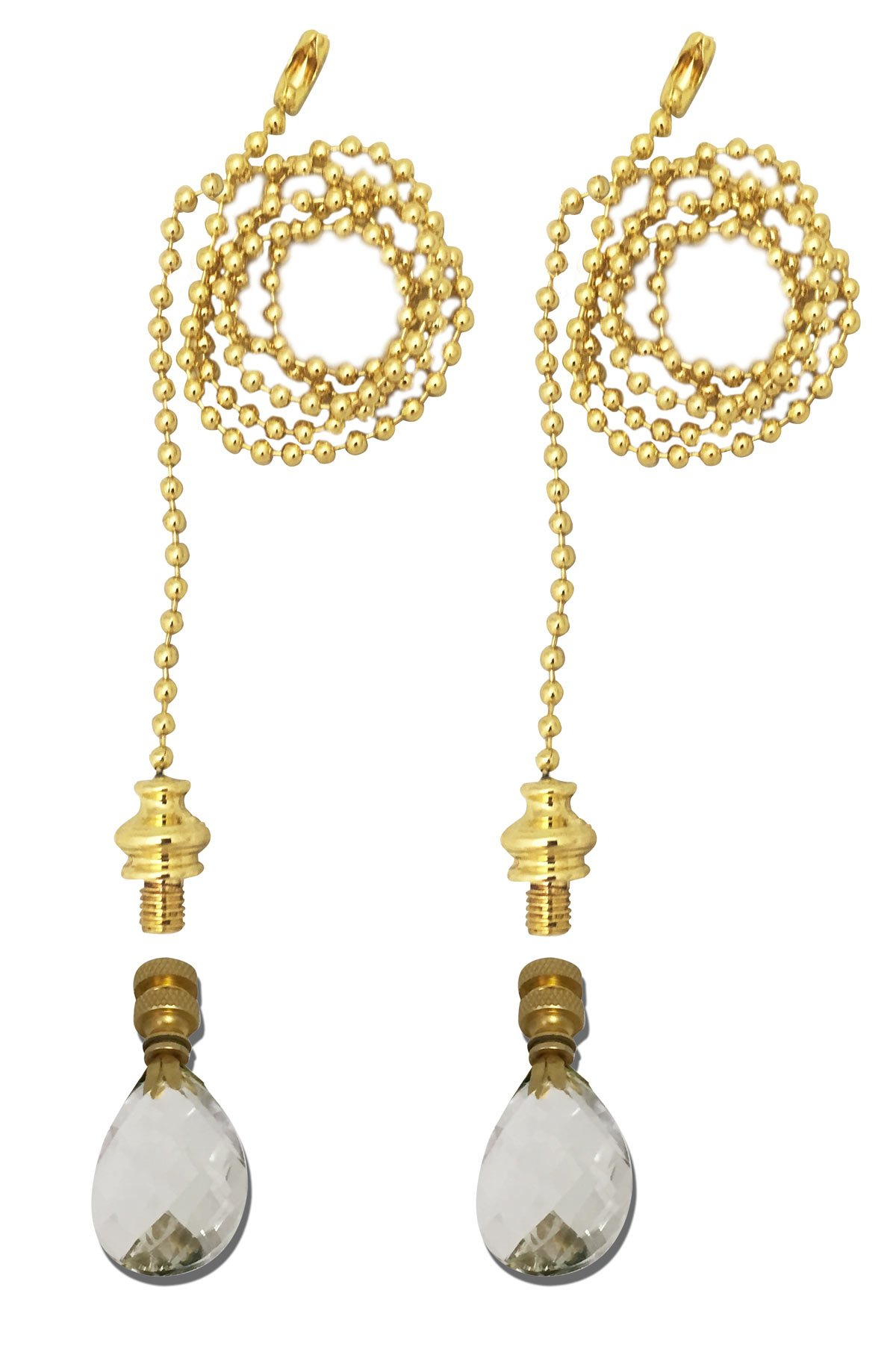 Royal Designs Fan Pull Chain with Small Swiss Cut Diamond Crystal Finial - Polished Brass - Set of 2