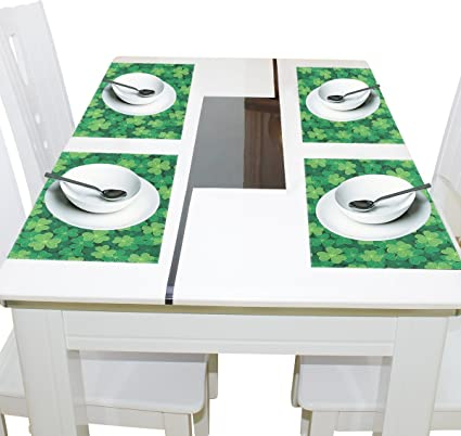 Amazon Com Wozo Clover St Patrick S Day Placemat Table Mat 12 X 18 Polyester Table Place Mat For Kitchen Dining Room 1 Piece Home Kitchen