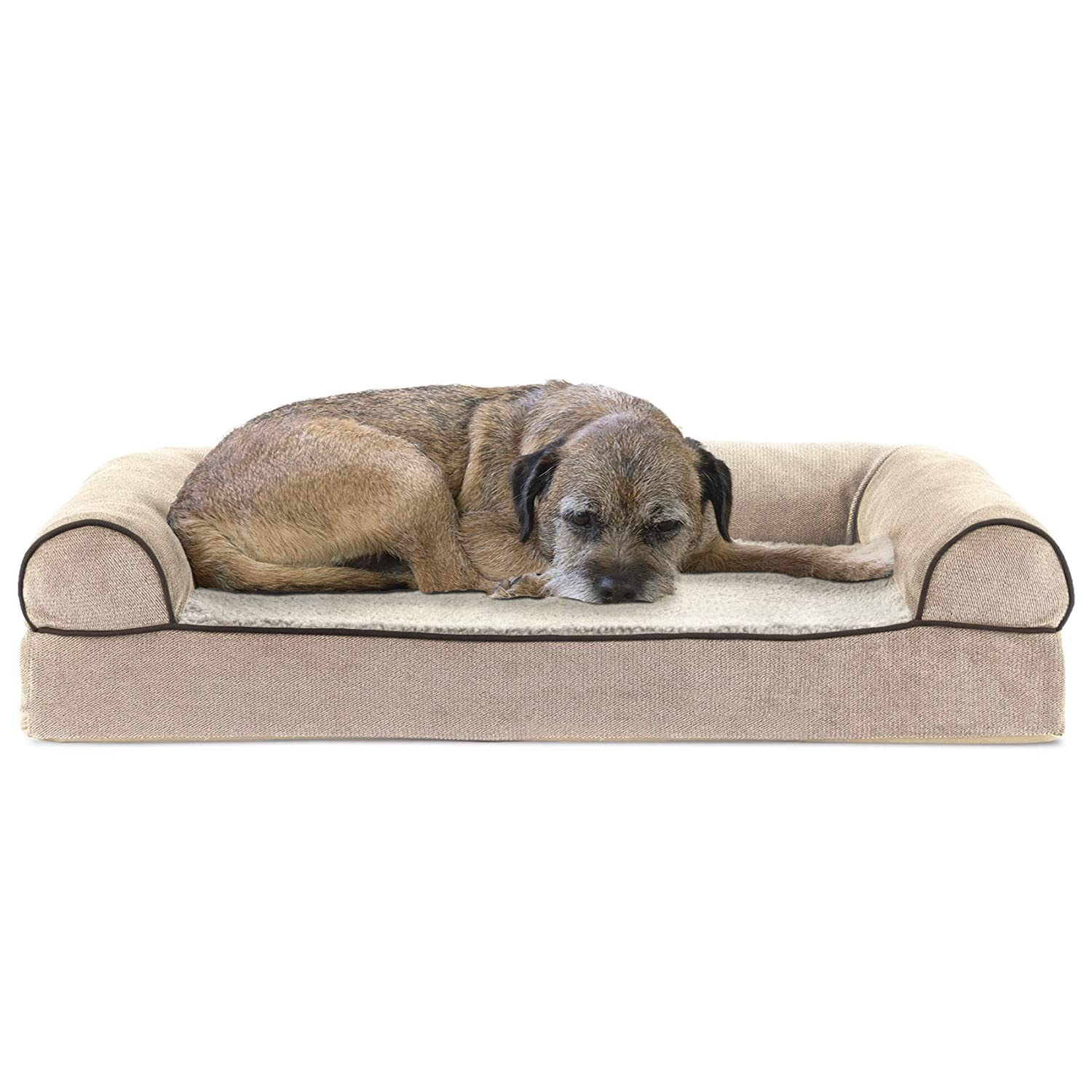 FurHaven Pet Dog Bed   Cooling Gel Memory Foam Orthopedic Faux Fleece & Chenille Soft Woven Sofa-Style Couch Pet Bed for Dogs & Cats, Cream, Medium
