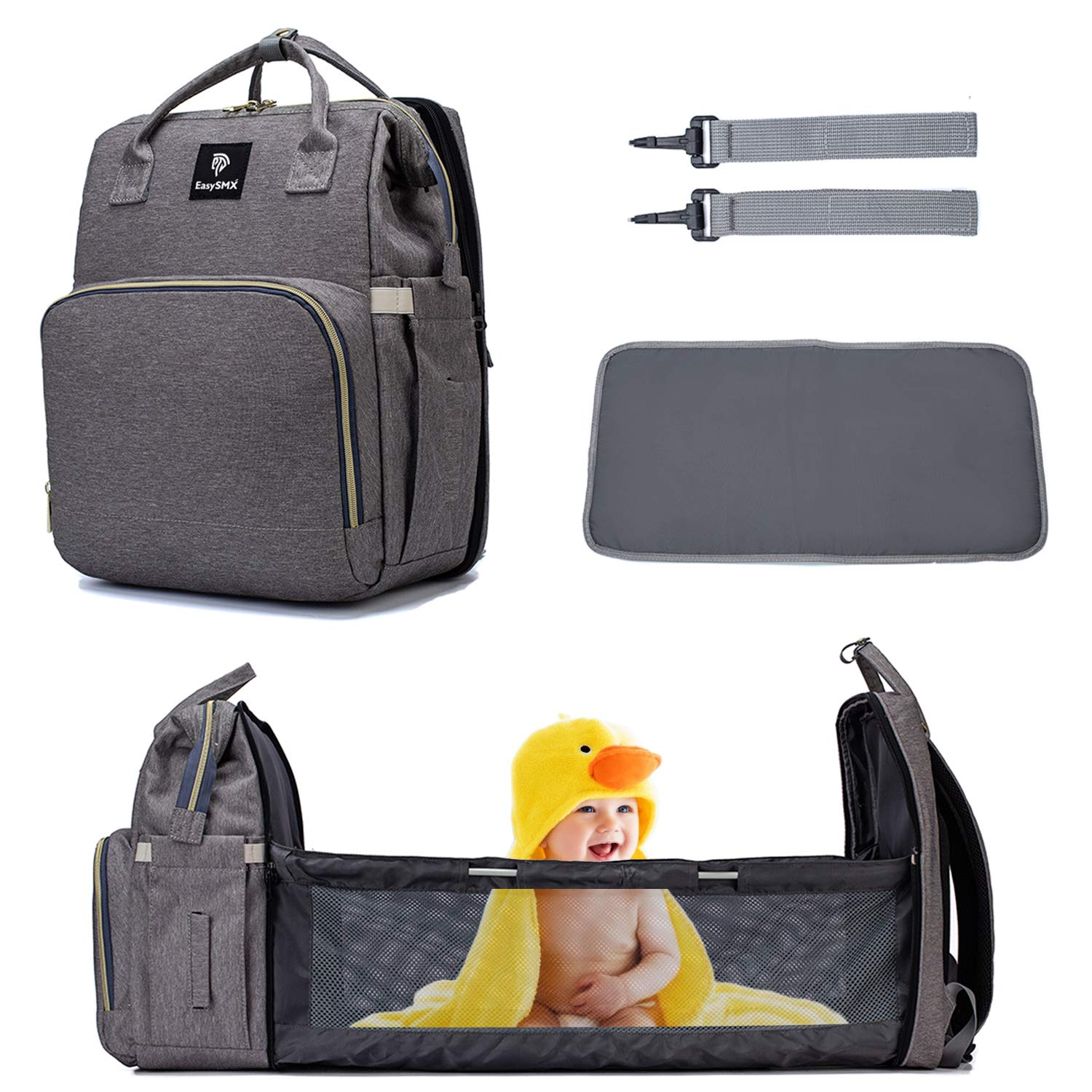 Diaper Bag Backpack, EasySMX Travel Diaper Bag with Foldable Baby Bed, Waterproof Backpack for Baby Stuff, Nappy Bag Changing Station, Diaper Bag with Portable Bassinet, Grey