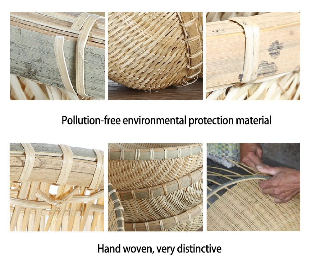 wellhouse Natural Bamboo Straw Woven Round Bread Roll Baskets Food Serving Baskets Fruits Storage Containers Draining Plate Round with Height by wellhouse (Image #5)