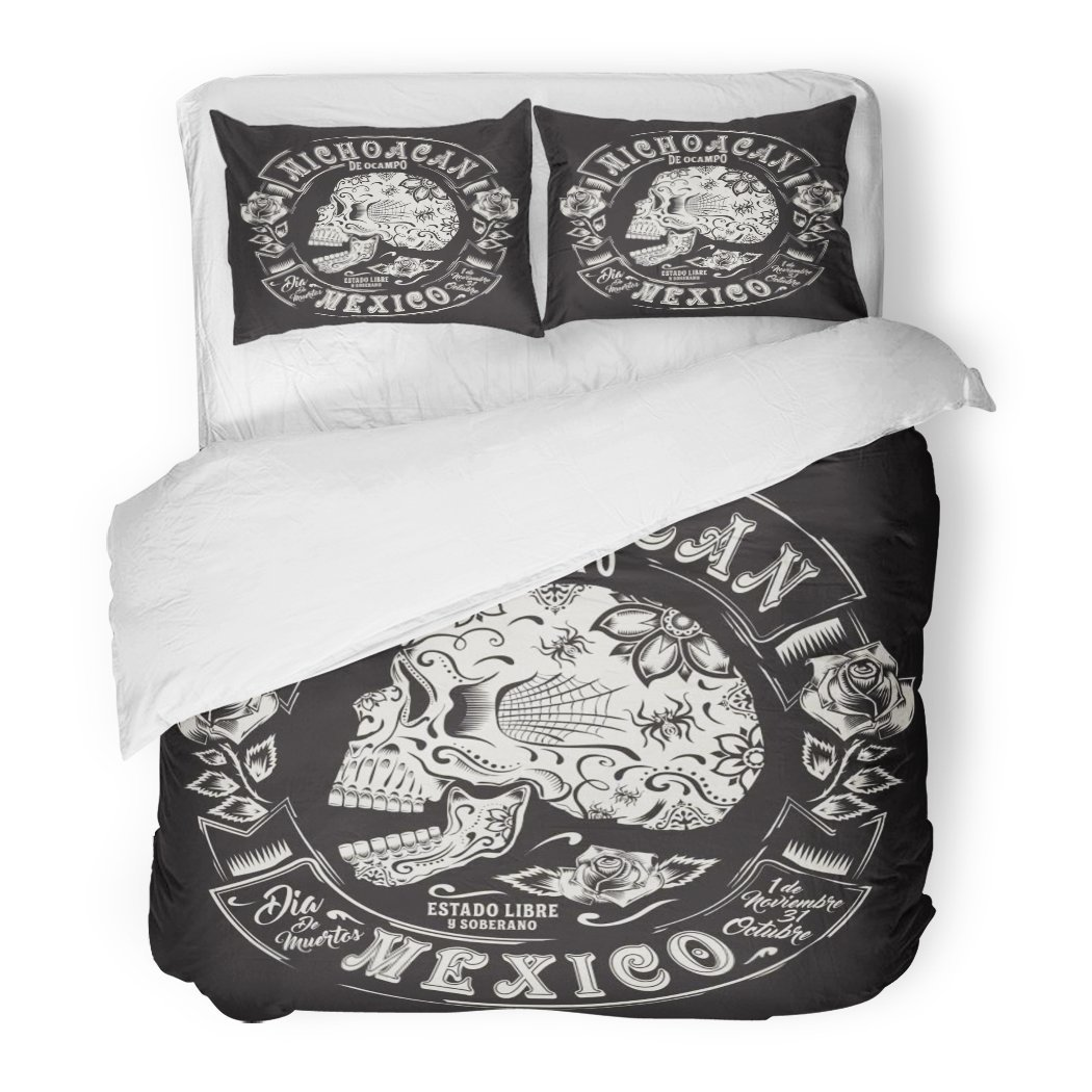 SanChic Duvet Cover Set Tatoo Skull Flowers Mexico Graphics Bandana Black Bone Christian City Decorative Bedding Set with 2 Pillow Shams Full/Queen Size