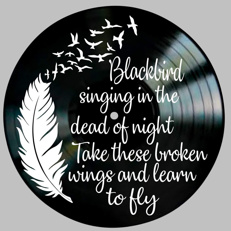 Blackbird Song Lyric Art Inspired by Beatles on a Vintage Vinyl Record Album Wall Art