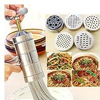 Stainless Steel Pasta Noodle Maker Vegetable Fruit Juicer Press Rigatoni Gramflour Noodles Rice Noodles Machine Inspired Kitchen Tool (1 x Maker + 5 x Mold)
