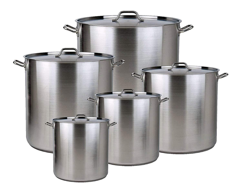 Lodhi's Set of 5 Commercial Grade Aluminum Stock Pot with Lid Cover & Steamer Rack – Size 20 QT, 24 QT, 32 QT, 40 QT, 52 QT