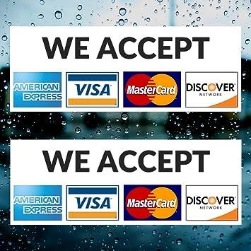 Visa Discover Master CREDIT CARD LOGO STICKER*2 Amex decal long