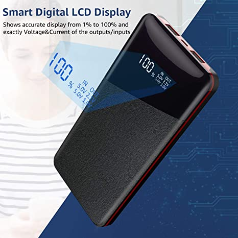 Power Bank 25000mAh-High Capacity Todamay Portable Charger with LCD Digital Display External Battery Pack for All The Smart Phone 2 USB Output Bluetooth Device and Others Tablets Red