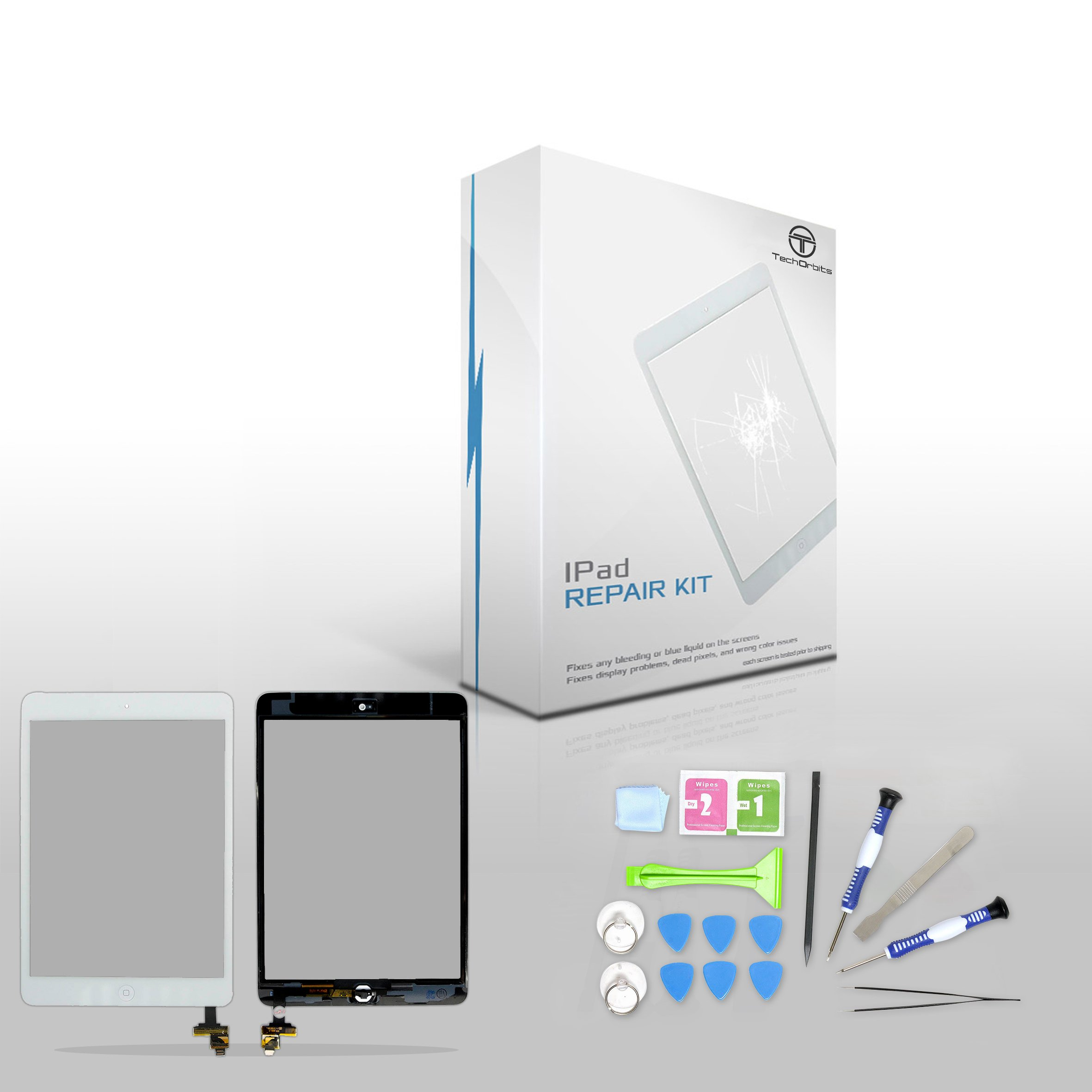 """TechOrbits IPAD Mini Touch Screen Digitizer Replacement 7.9"""" Mini & Mini 2 Retina Display with IC Chip & Home button A1432 A1454 A1455 A1489 A1490 A1491 (AT&T/T-Mobile/Sprint/Verizon) White Repair Kit"""