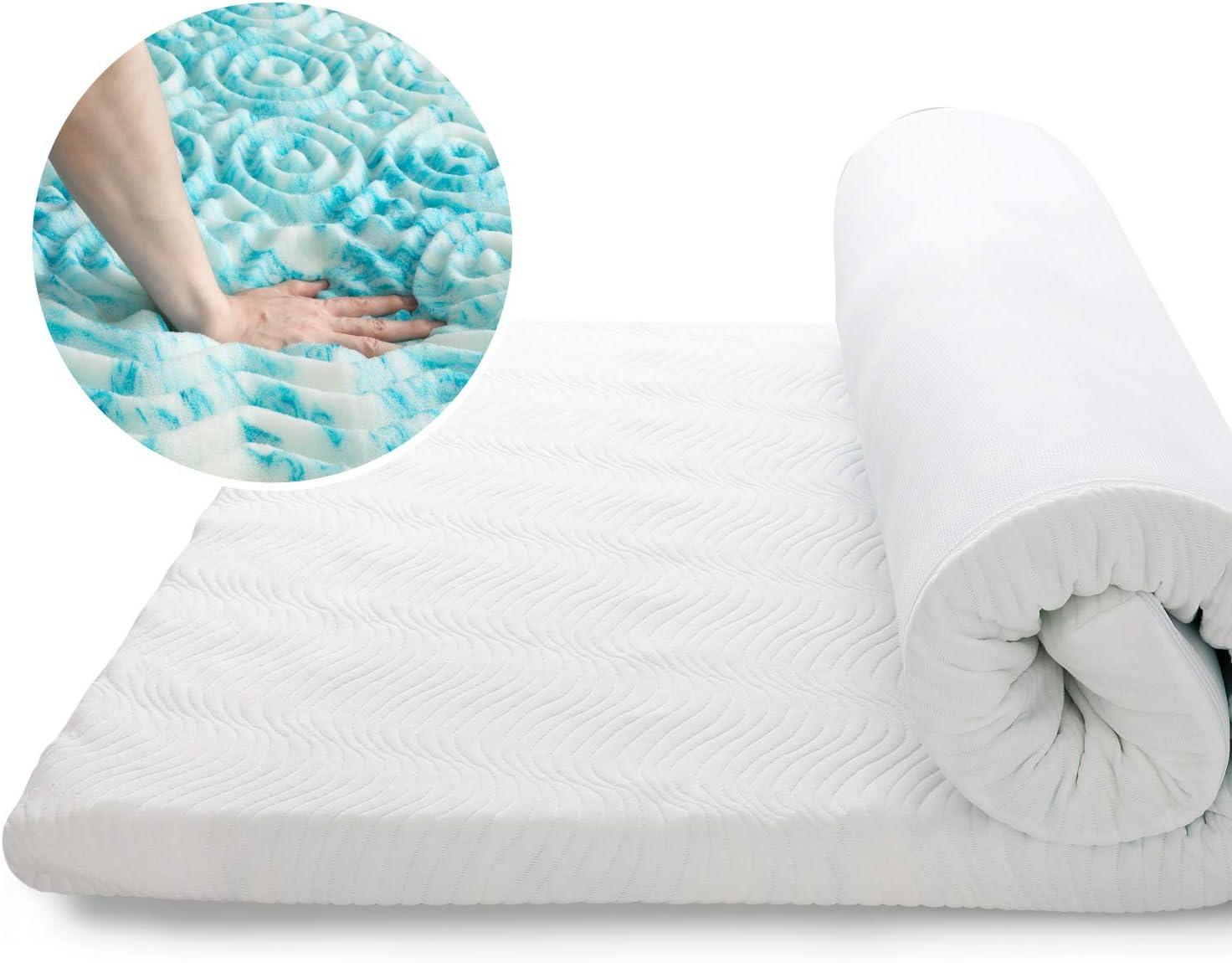 Bedsure Topper Colchón Viscoelástico 150x190x7cm de Memory Foam - Sobrecolchon Antiestático con 1 Funda Extraíble y Lavable - Cubrecolchon Espuma con Efecto Memoria Hipoalergénico