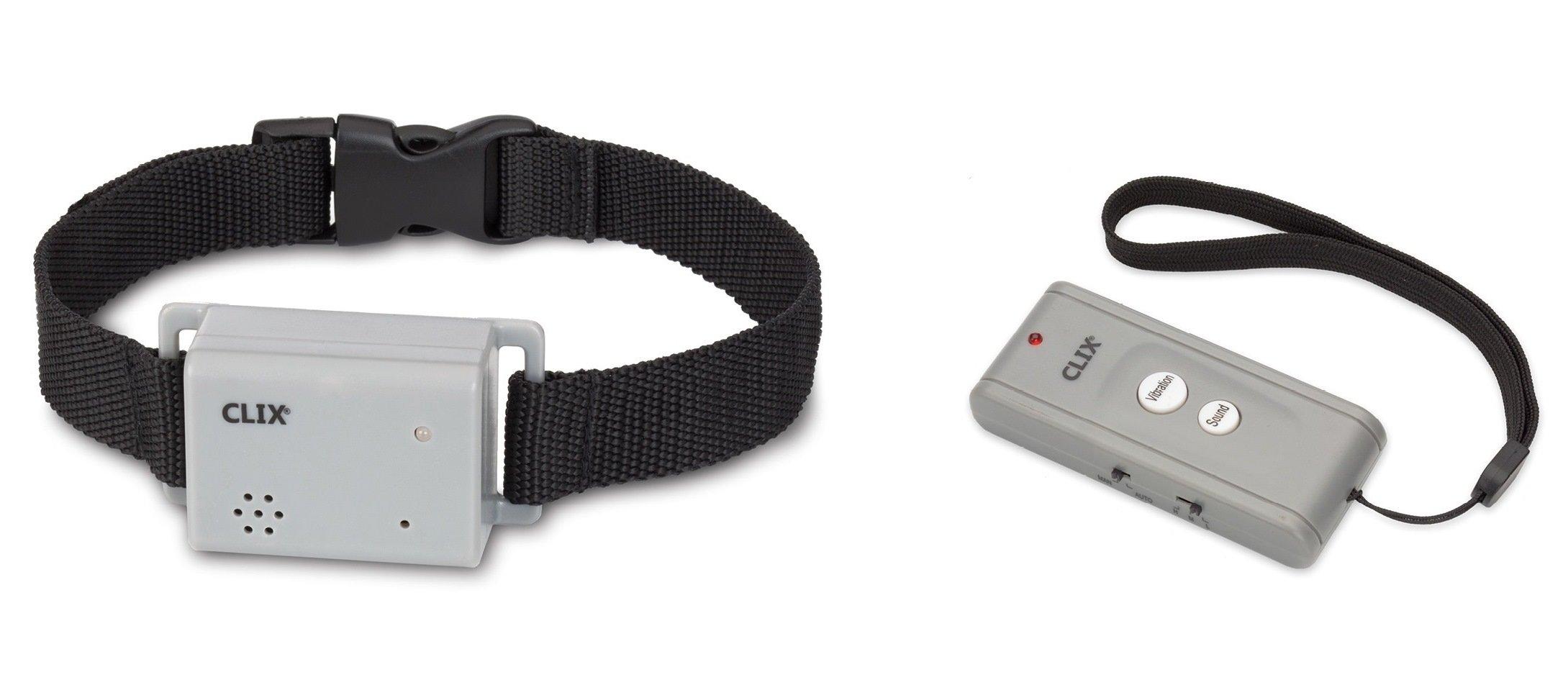 Clix Remote Control Dog Collar Trainer, No Bark Collar, Control Unwanted Behaviour (Vibration or Sound)