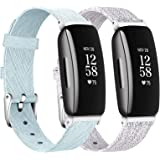 LORDSON Watch Bands Compatible with Fitbit Inspire 2 & Inspire HR & Inspire Band, 2-Pack Slim Soft Woven Fabric Quick Release