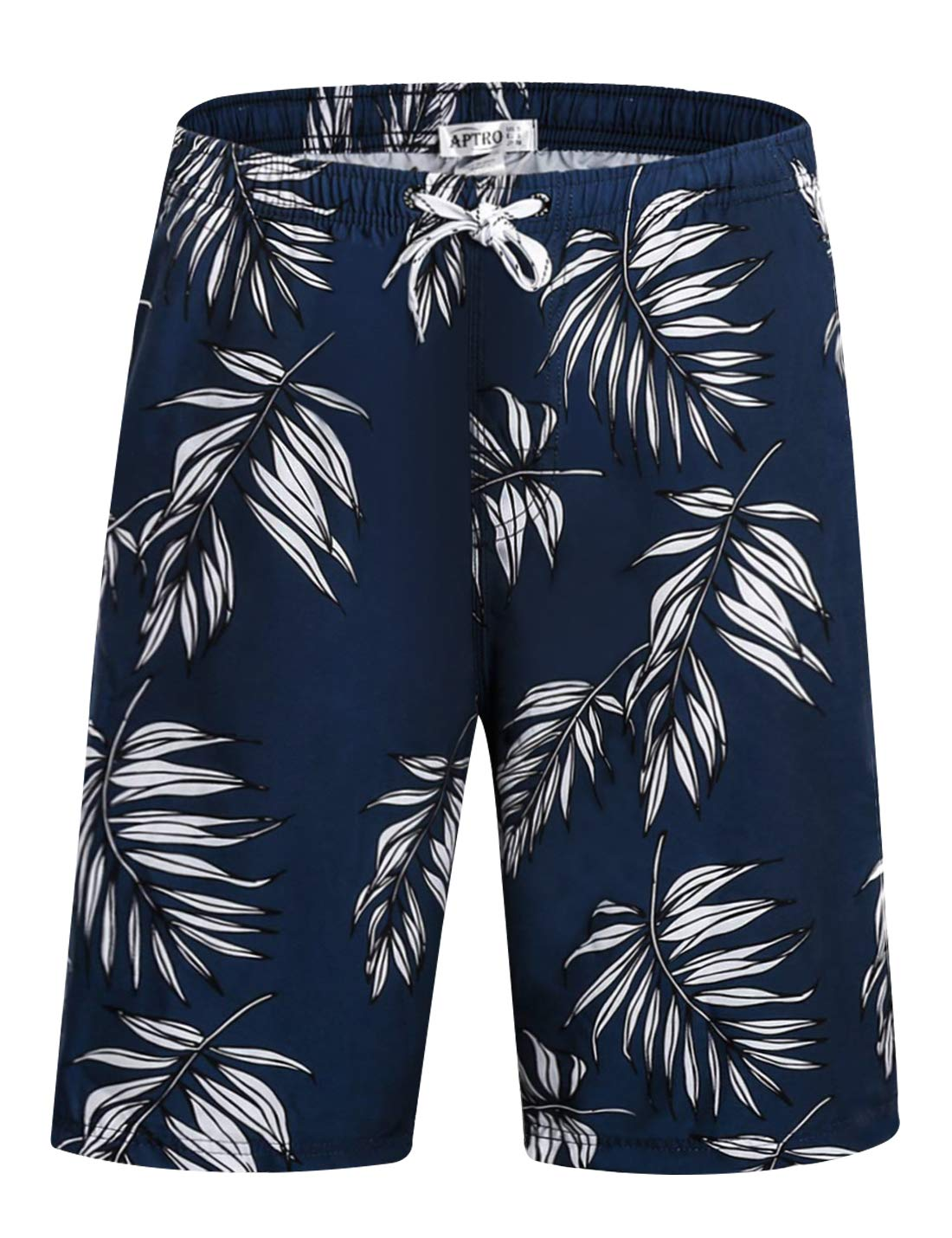 Men's Quick Dry Swim Trunks with Pockets Long Elastic Waistband Beach Holiday Bathing Suits with Mesh Liner (M, no mesh Lining-Leaves) by APTRO