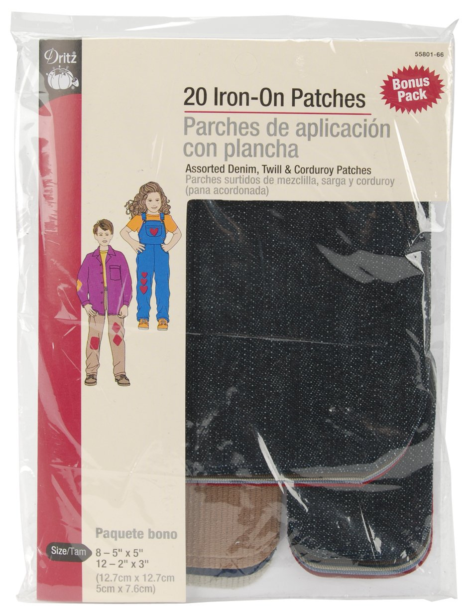 Assorted Colors /& Sizes Denim Twill /& Corduroy Iron-On 20-Count Dritz 55801-66 Patches