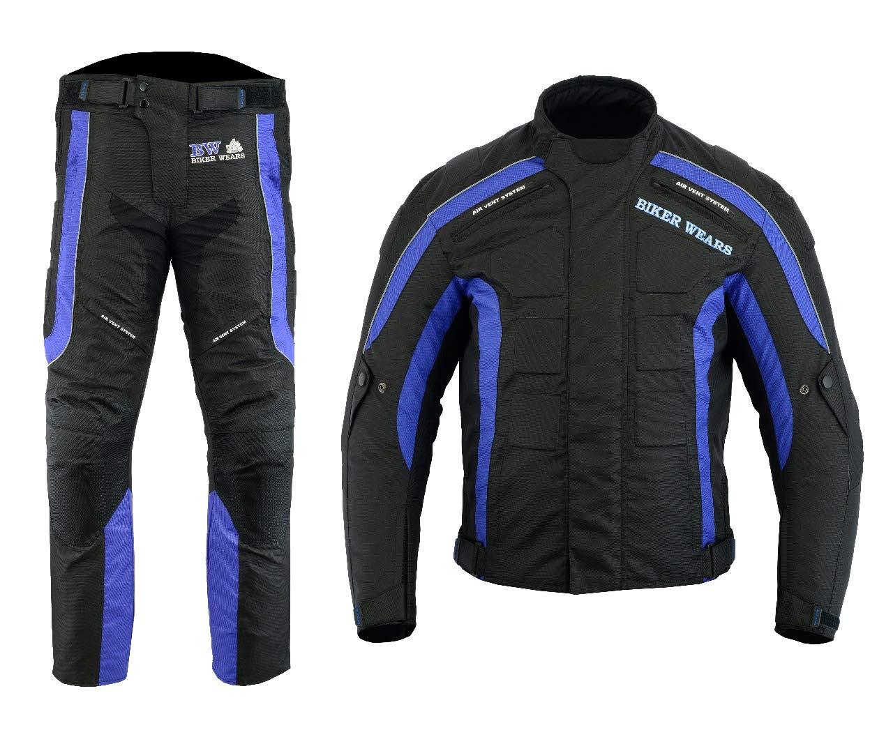 Herren Motorrad Motorrad Wasserdichte Anzug Biker Hosen und Jacke mit abnehmbarer Rü stung Biker Wears Ltd MEN-MOTO-2PC-SUIT-BLUE-BLK-XL