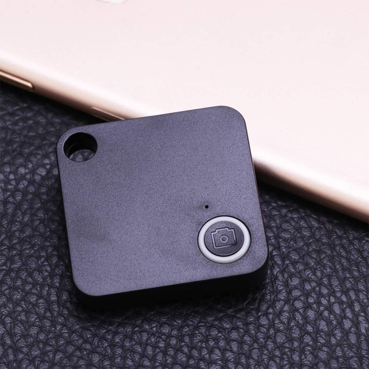 ibasenice Key Finder Anti-Lost Smart Mini GPS Tracking Chip Tags Square GPS Keychain Tracker Locator Device for Phone Luggage Backpack Black