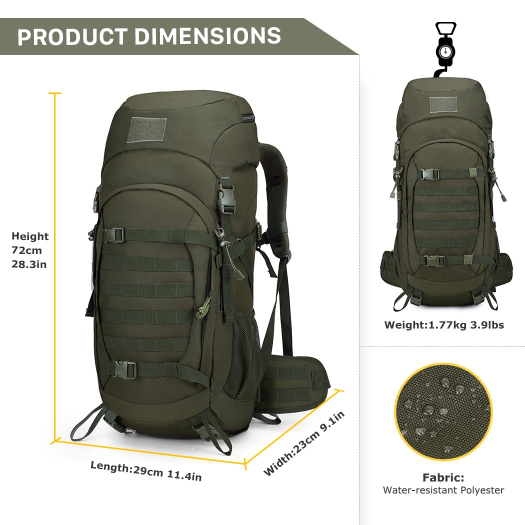 Amazon.com : Mardingtop 50 Liter Internal Frame Backpack Tactical ...