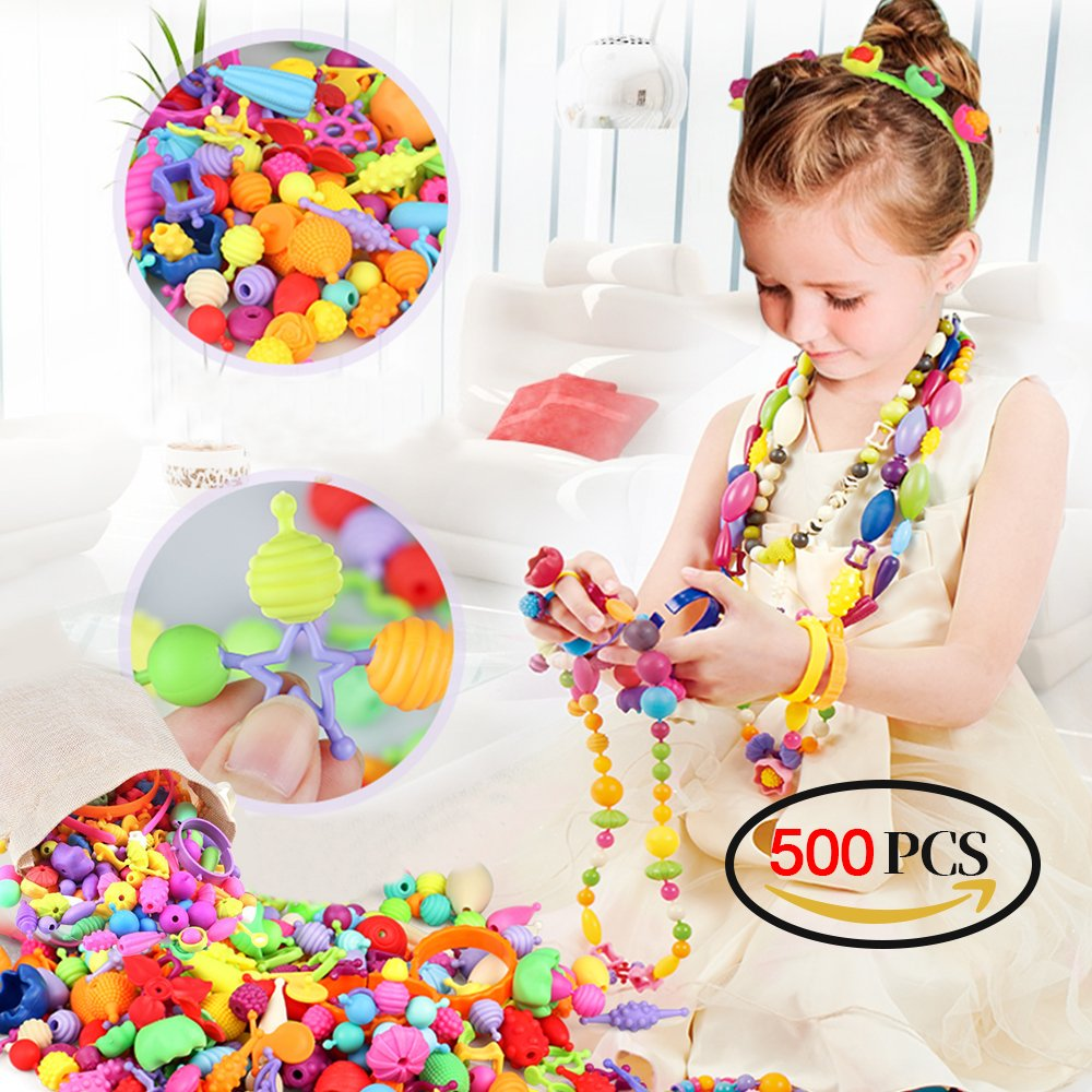 Pop Beads - 500 PCS Snap Beads Arts and Crafts Toys Creative DIY Jewelry Set for Kids Toddlers, Ideal Birthday Gifts for 3, 4, 5, 6, 7 Year Old Girls, Making Necklace, Bracelet, Ring and Hairbands Holody
