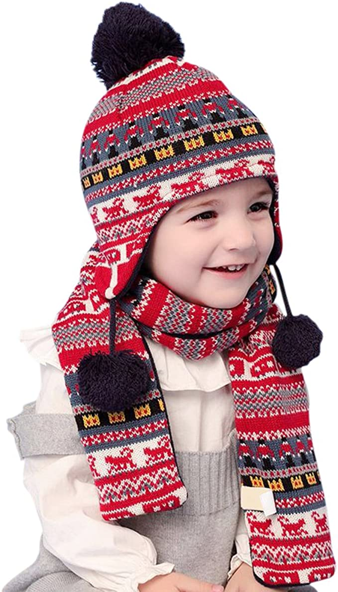 Tortor 1Bacha Infant Baby Kid Boy Girl Star Knit Pom Pom Beanie Hat Mittens Scarf Set