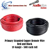 18 GAUGE WIRE RED BLACK POWER GROUND 50 FT EACH PRIMARY STRANDED COPPER CLAD