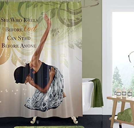 African American Expressions Shower Curtain With Hooks 71 X 71 Inch Green She Who Kneels Home Kitchen