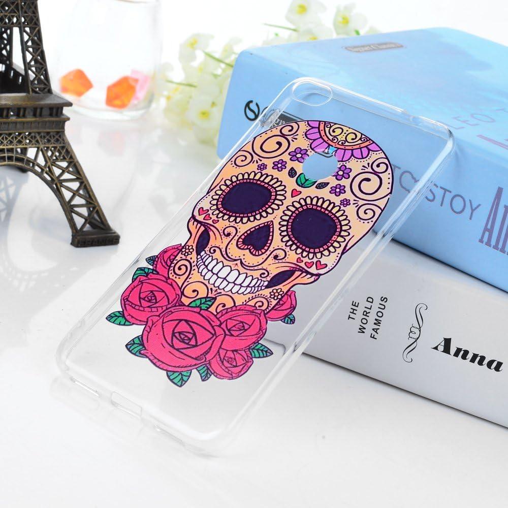Malheureux Fleur Squelette 3x Coque Huawei P8 Lite 2017 /Étui Silicone TPU Housse de Protection Fine Souple Ultra Mince Flexible Anti-choc Etui Dessin Original Motif Case Expression M/échante