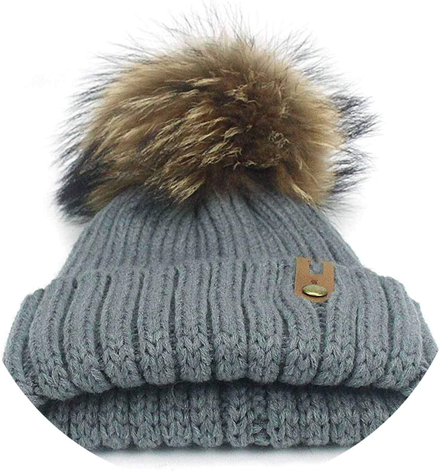 Mink and Cap Pom Poms Winter Hat Hat Knitted Beanies Cap New Thick Fe Skullies,N,