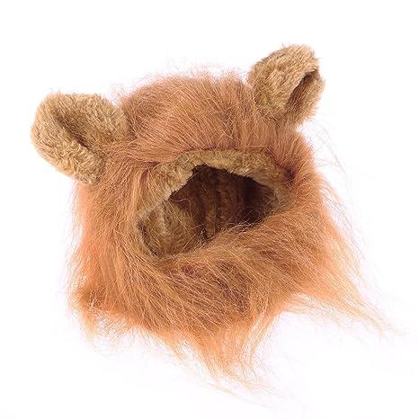 UKCOCO Peluca Disfraz de León para Gatos Cachorro con Melena Sombrero Ajustable para Mascotas (Marrón