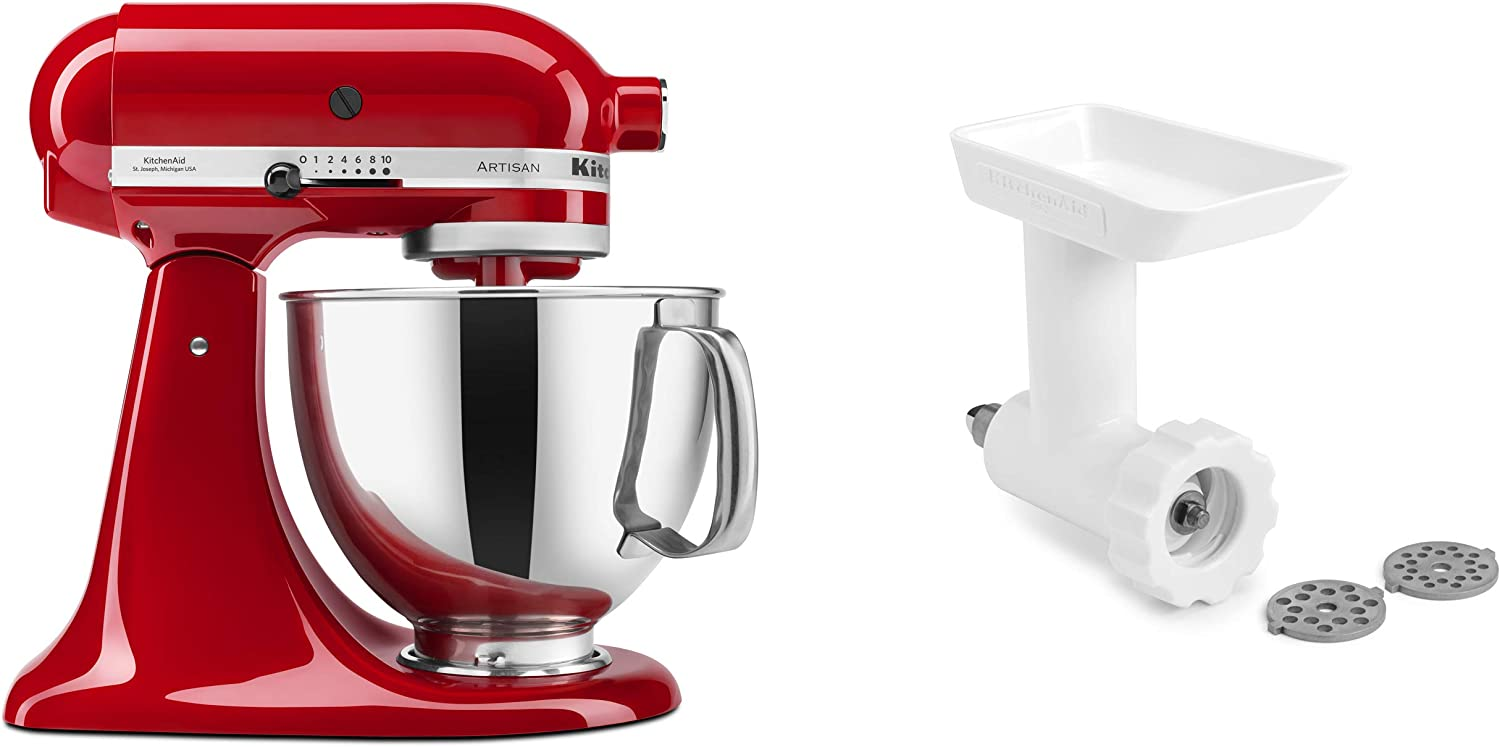 KitchenAid KSM150GBQER Artisan Tilt-Head Stand Mixer with Food Grinder  Attachment, Empire Red