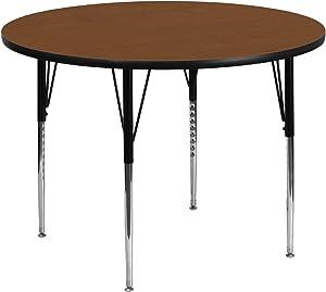 Flash Furniture 42'' Round Oak HP Laminate Activity Table - Standard Height Adjustable Legs