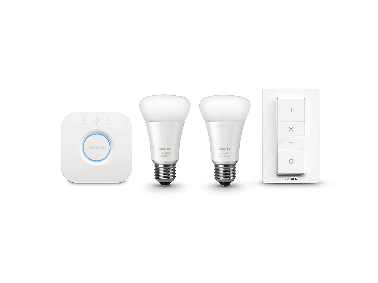 Philips 461012 Hue White Ambiance Starter Kit (2 A19 Bulbs, 1 Bridge, and 1  Dimmer Switch), Works with Amazon