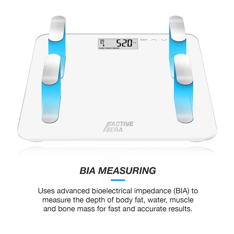 Active EraTM - Báscula de baño ultrafina para medir la grasa corporal. Analizador con% de grasa corporal, IMC, edad, peso y altura (blanco): Amazon.es: ...