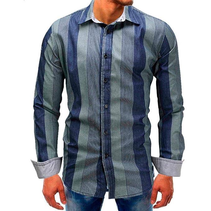 Resplend Camiseta de Manga Larga con Rayas y Botones a Rayas de Hombre Camiseta básica de