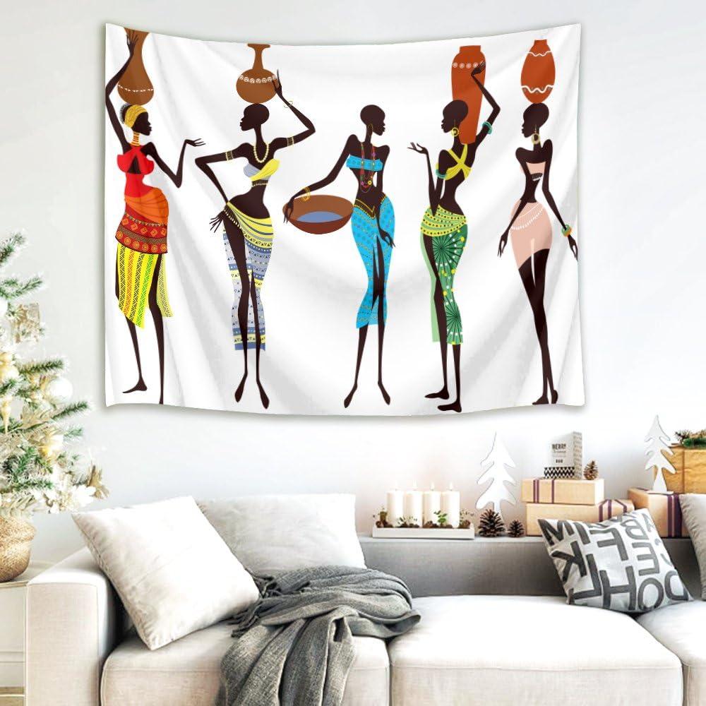 LB Tapisserie Culture Africaine Fille Noire Blanche Bleue Brune Tapis Mural Tapisserie de Pique-Nique Pique-Nique Drap de Plage Linge de Table Accessoire pour la Maison 200 Largeur x 150 Hauteur cm