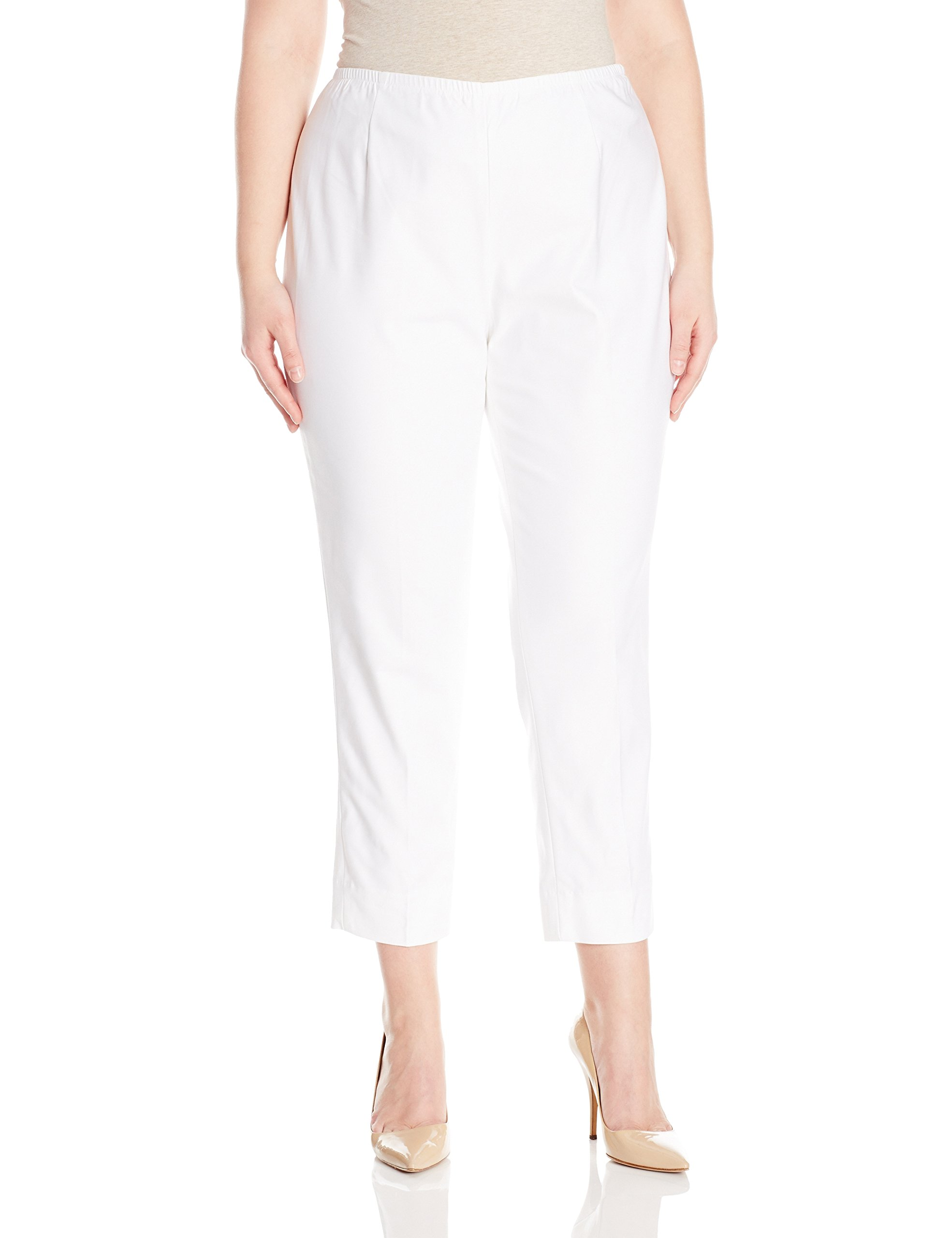 Nic+zoe Women's Plus-size Perfect Pant Side Zip Ankle Length, Paper White, 18W by NIC+ZOE
