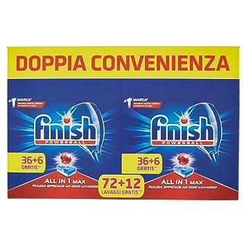 Pastillas para lavavajillas Finish Todo en Uno, 36 + 6 pastillas, 1562 gr normal