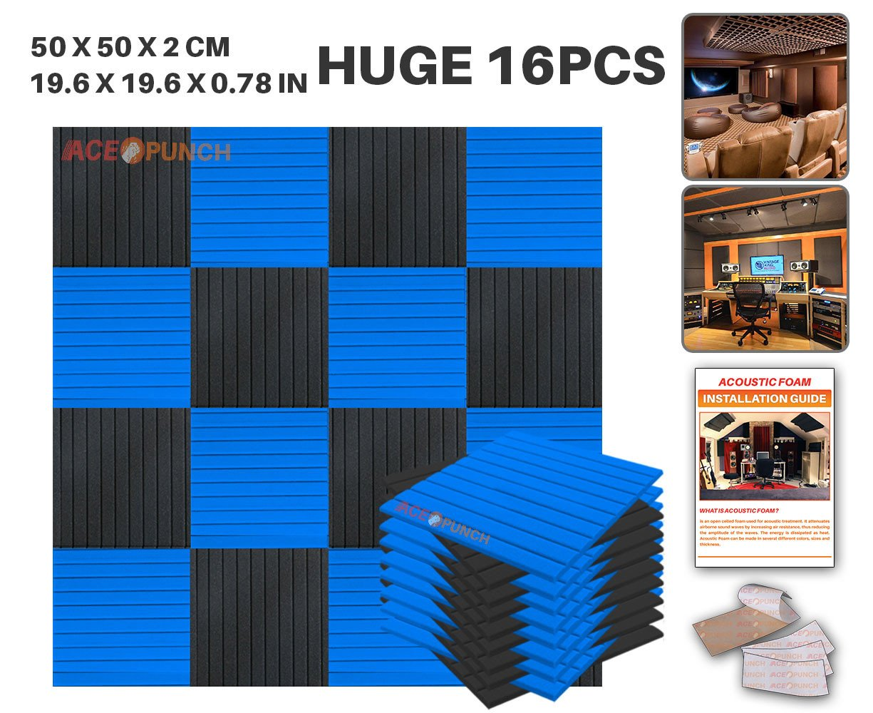Ace Punch 16 Pack BLACK AND BLUE Color Combination Flat Wedge Acoustic Foam Panel DIY Design Studio Soundproofing Wall Tiles Sound Insulation with Free Mounting Tabs 19.6'' x 19.6'' x 0.8''