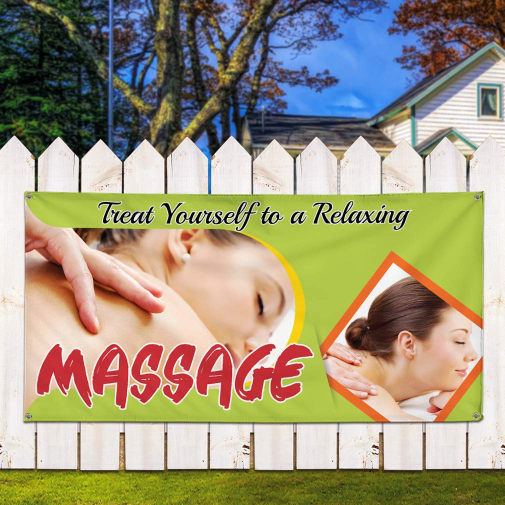 24inx60in Set of 3 4 Grommets Multiple Sizes Available Vinyl Banner Sign Treat Yourself to A Relaxing Massage #1 Style B Marketing Advertising