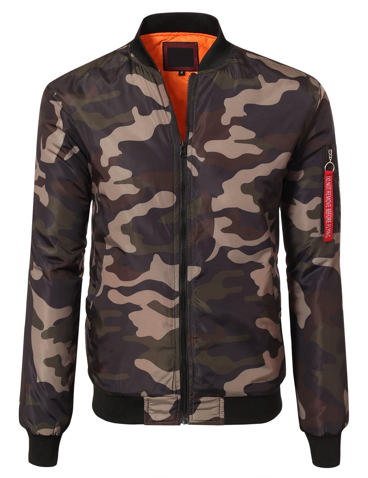 JD Apparel Men's Lightweight Slim Fit Bomber Jackets Large Olive Camoflauge by JD Apparel
