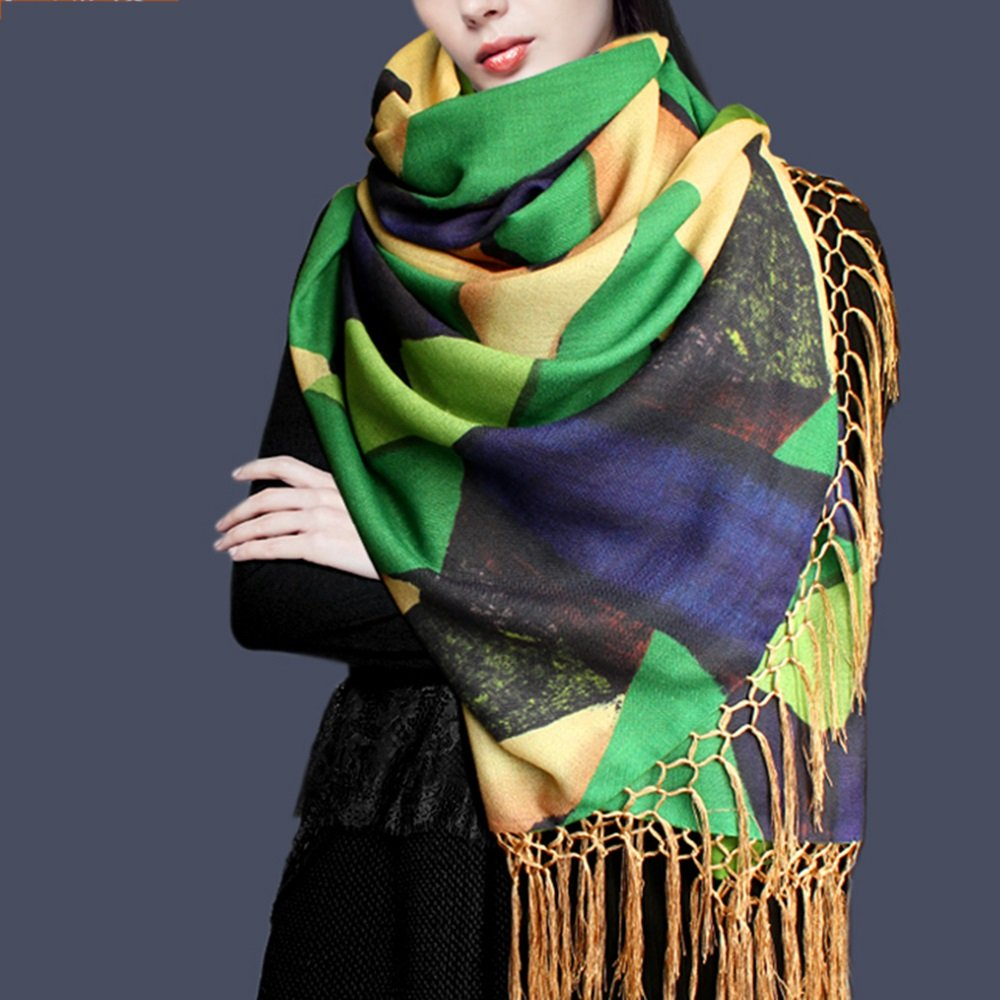 220 70cm LJHA weijin Autumn and Winter Silk Scarves Blended Double Double Scarf Womens Warm Shawl Dual-use Scarf