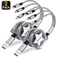 Amuvec 3 in 1 Retractable Charging Cable, (2 Pack/ 3.3FT) Fast Multi Adapter Charger Cord with Phone/Type C/Micro USB…