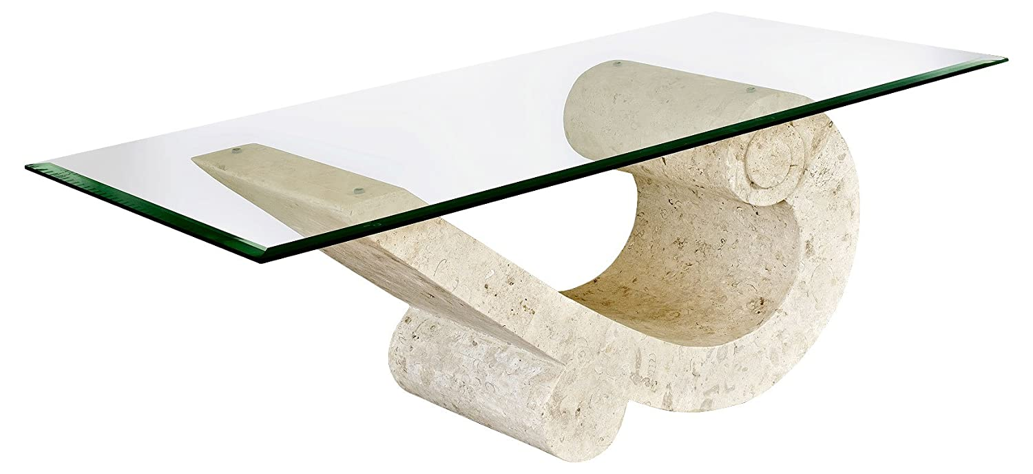 Marina Coffee Table With Fine Mactan Stone Base And Tempered Glass