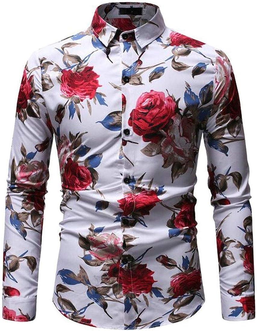 WSPLYSPJY Mens Fashion Floral Print Shirt Long Sleeve Slim Button Down Shirts Tops