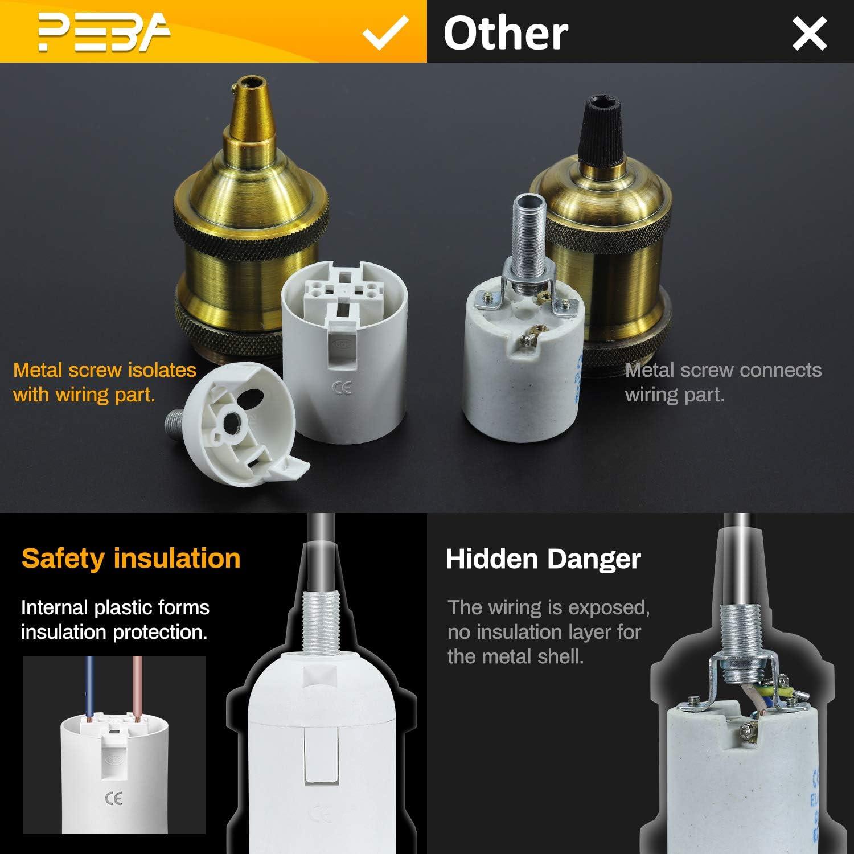 PEBA Edison retro colgante Adaptador Portal/ámparas Edison E27 Puede agregar pantalla de l/ámpara E27 Vintage Portal/ámpara Decoraci/ón de iluminaci/ón de bricolaje Lat/ón antiguo,3 pcs